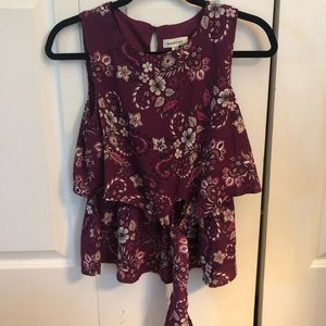 Purple and Pink Floral Blouse w/ Front Tie Detail